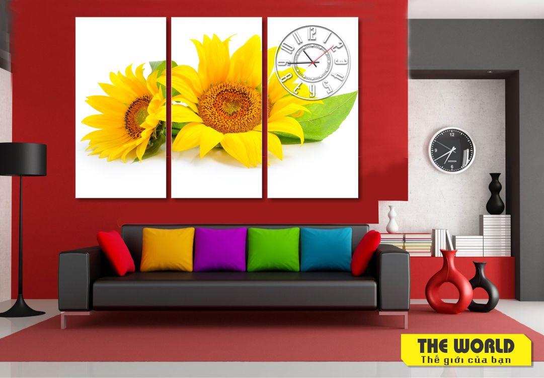 tranh đồng hồ hoa hướng dương