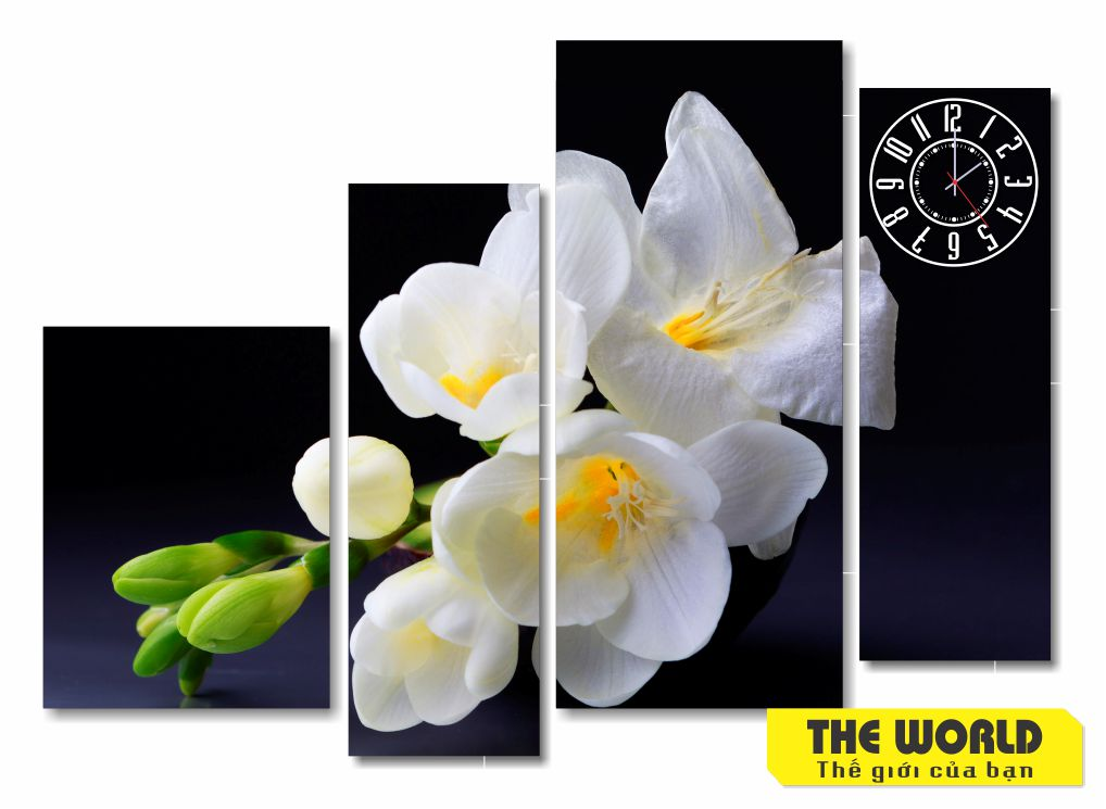 tranh đồng hồ hoa lá đẹp