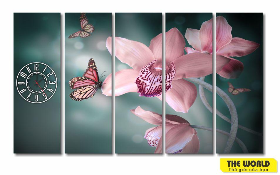 tranh đồng hồ hoa lan đẹp