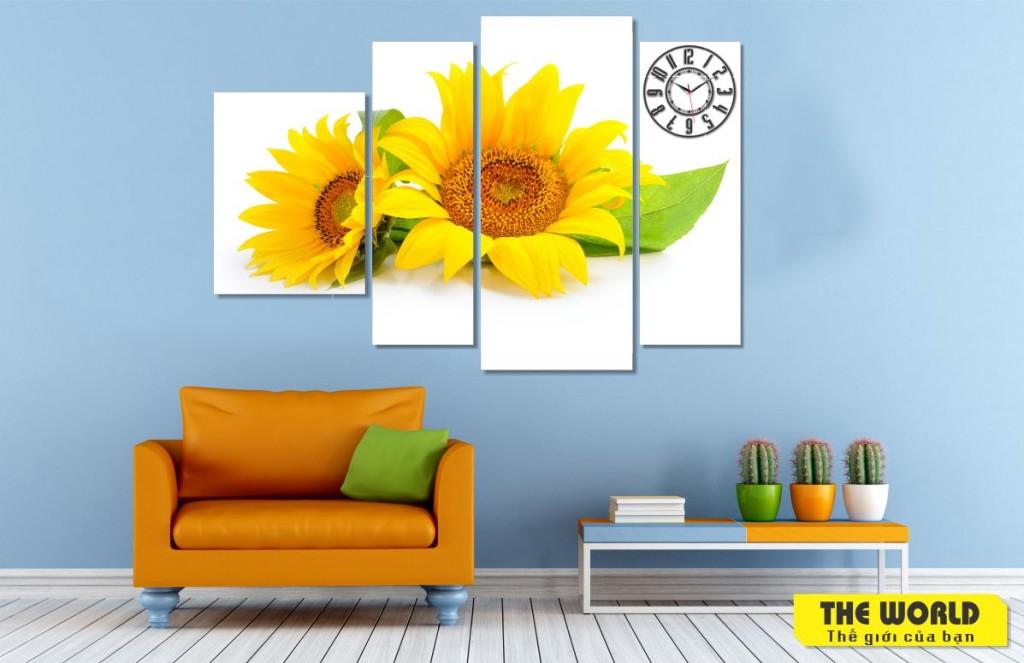 tranh đồng hồ treo tường hoa hướng dương