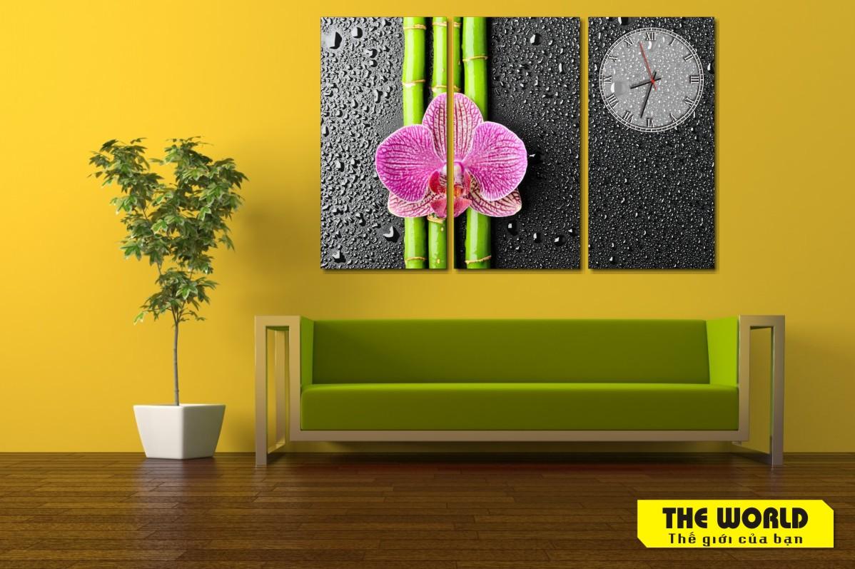 tranh đồng hồ hoa lan