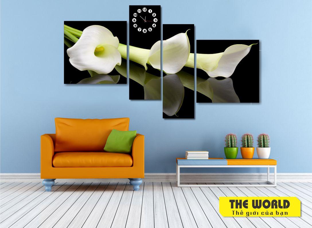 tranh đồng hồ hoa loa kèn
