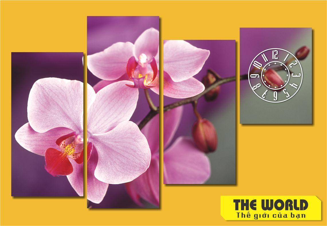 tranh đồng hồ treo tường hoa lan