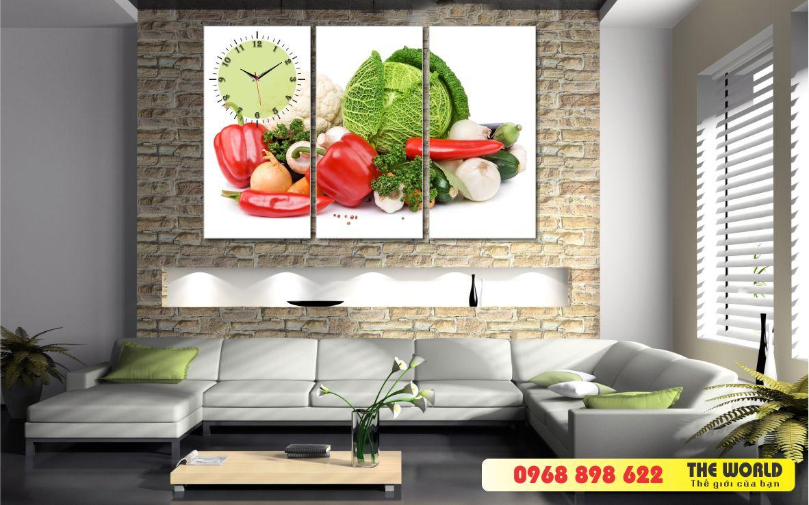 tranh đồng hồ treo tường hoa quả phòng ăn