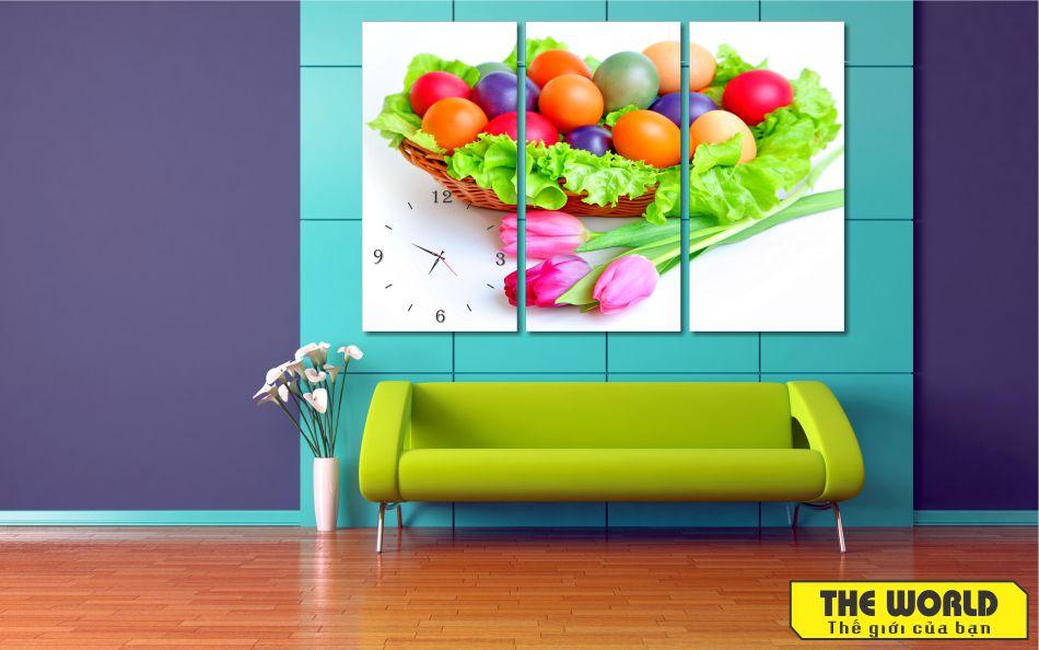 tranh đồng hồ treo tường hoa quả