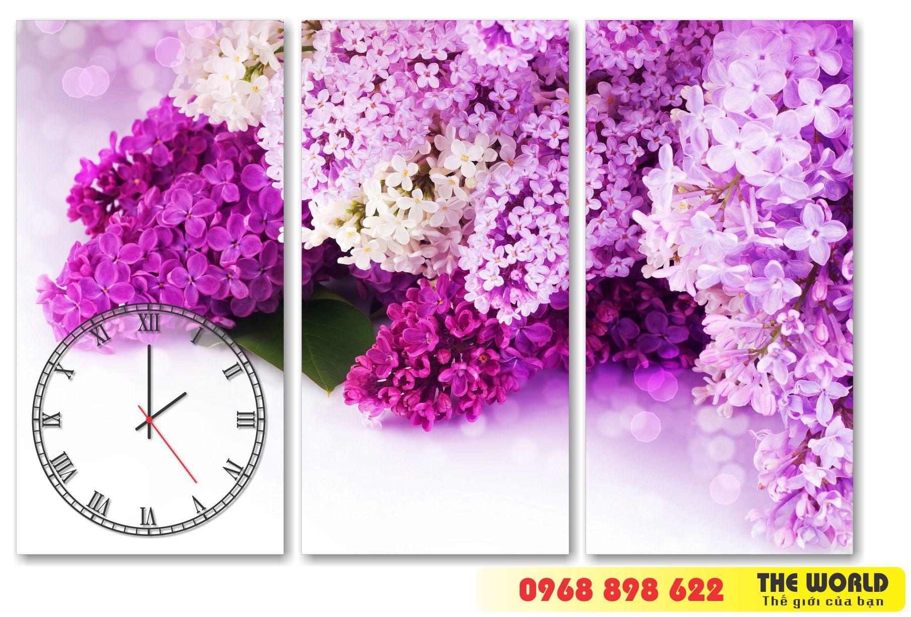 tranh đồng hồ treo tường hoa lá đẹp