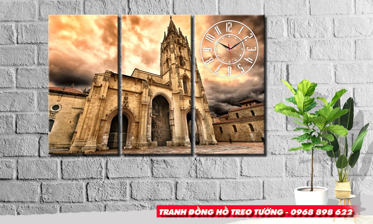 Tranh đồng hồ treo tường tòa tháp